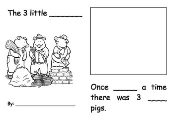 3 Little Pigs Fill in the blanks booklet
