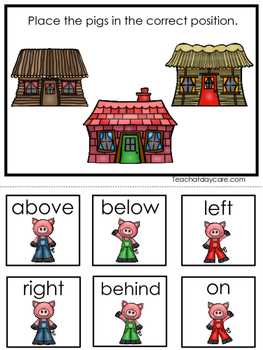 3 Little Pigs themed Positional Game.  Printable Preschool