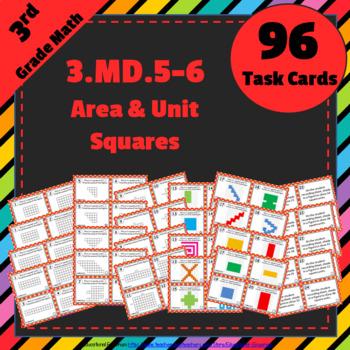 3.MD.5 & 3.MD.6 Task Cards: Area & Unit Squares Task Cards