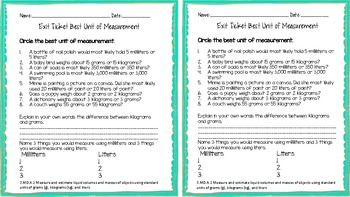 3.MD.A.2 Volume and Mass Exit Ticket