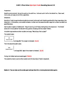 3.NBT.1 Place Value Quiz-Quiz-Trade Rounding Nearest 10