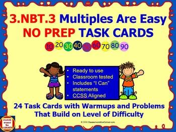 3.NBT.3 Math 3rd Grade NO PREP Task Cards—MULTIPLES OF TEN
