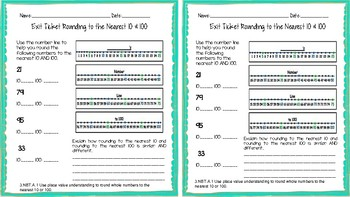 3.NBT.A.1 Rounding to the Nearest 10 & 100 Exit Ticket