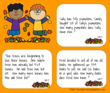 3.NBT- Subtraction Word Problems Fall Themed