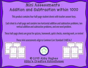 3.NBT.2 Add and Subtract within 1000 Quick Assessments