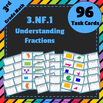 3.NF.1 Task Cards: Equal Parts, Fractions Task Cards 3.NF.