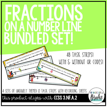 3.NF.A.2 Fractions on a Number Line Task Strips BUNDLE wit