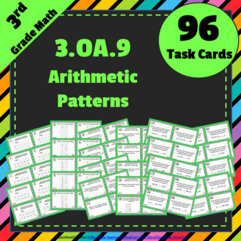 3.OA.9 Task Cards: Arithmetic Patterns (Third-Grade Common