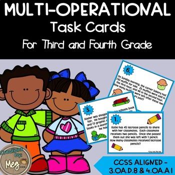 3.OA.D.8 Multi-Step Word Problem Math Task Cards For Third