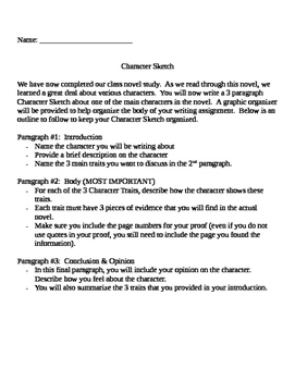 3 Paragraph Character Sketch Assignment