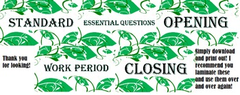 3 Part Lesson Labels - Green Leaf Design! For your board!
