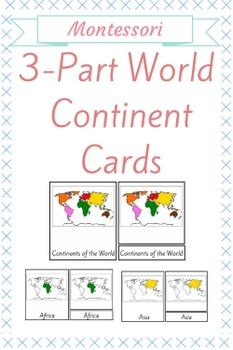 3 - Part Montessori World Continent Cards