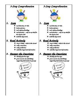 3 Step Comprehension Strategies Bookmark