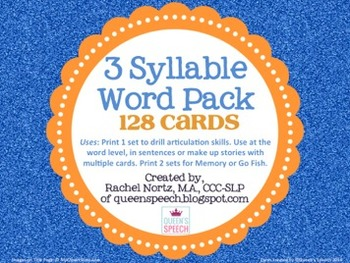 3 Syllable Word Pack