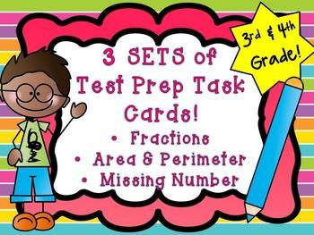 Common Core Test Prep Task Cards 3rd/4th Area & Perimeter,