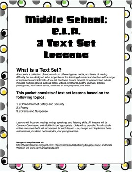 3 Text Set Lessons Plans: Internet/Online Safety, Poetry,