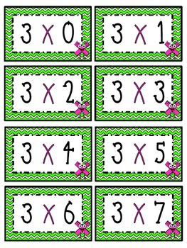 """3"" Times Table Flash Cards"