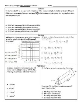 3 Week Warm-Up Spiral: 8th STAAR Math Essential Review #2