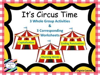 Whole Group Reading Activities & Worksheets--Circus Theme