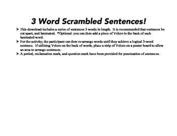 3 Word Scrambled Sentences Freebie