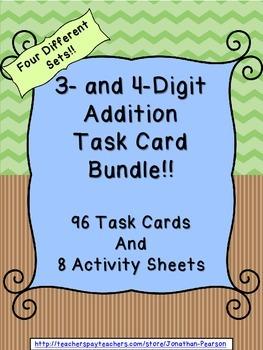 3 and 4 Digit Addition Task Card Bundle - 96 Task Cards wi