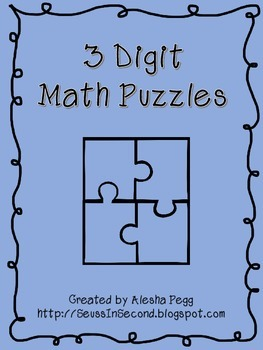 3 digit Math Puzzles Place Value Base 10 Blocks Number Words