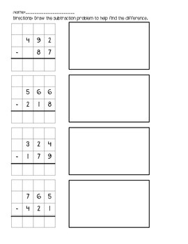 3 digit Subtraction on a Grid