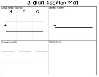 3 digit addition mat