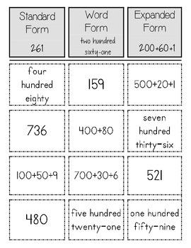 3 digit number sorts - Base Ten/Expanded Form/Number Words