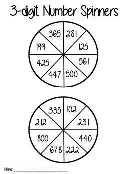 3-digit number spinners