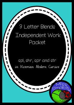 3 letter blends SPR SHR SPL STR INDEPENDENT phonics pack