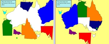 3 page smartboard AUSTRALIAN states and territories SORT