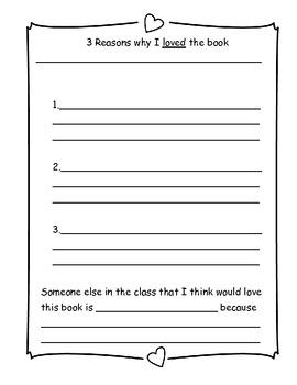 """""""3 reasons why"""" reading response sheet"""