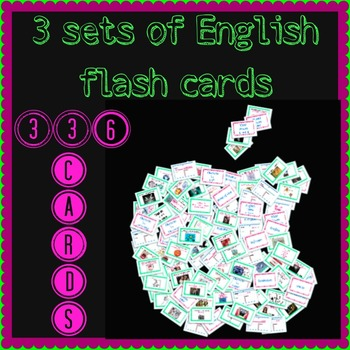 3 sets of flash cards for the English Classroom
