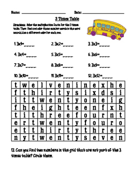 3 times table worksheet / wordfind