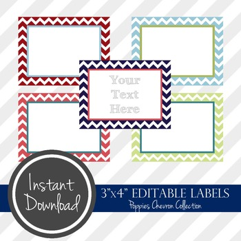 """3"""" x 4"""" EDITABLE PRINTABLE Labels - Poppies Chevron Collection"""