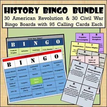 30 American Revolution & 30 Civil War Bingo Boards with 95