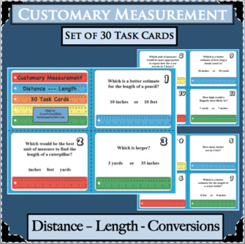 30 Customary Measurement Units Length Distance Task Cards