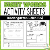 52 Kindergarten Sight Word Practice (Dolch) Printables
