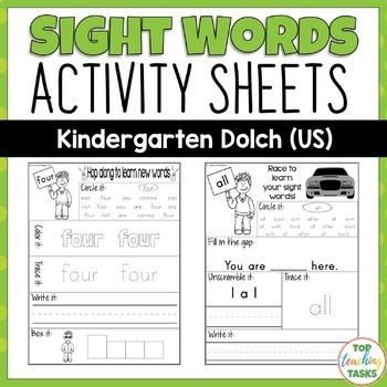 52 Kindergarten Sight Word (Dolch) Printables