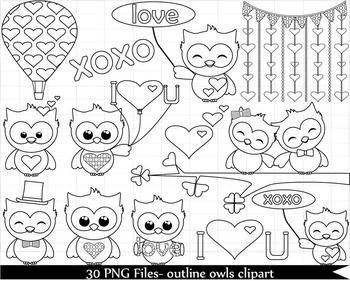 30 PNG Files- Outline Owls Clipart -Personal/ Commercial Use 090
