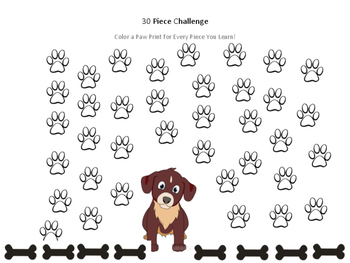 30 Piece Practice Challenge Chart for Music Students