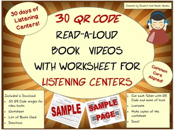 30 QR Code Read-a-Loud Book Videos/Worksheet Literacy Cent