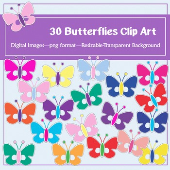 30 Simple Butterflies Clip Art: for classroom decoration,