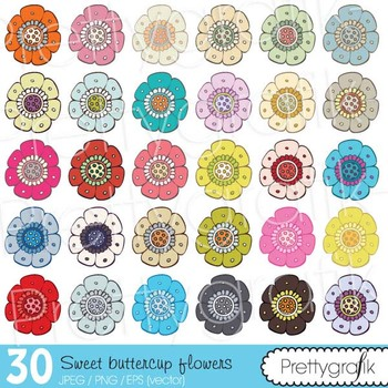 30 flower clipart commercial use, vector graphics, digital