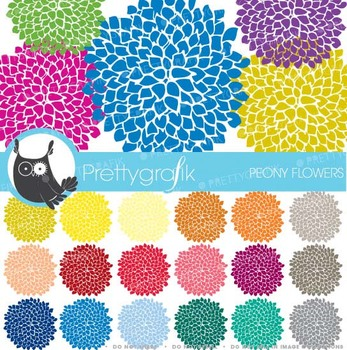 30 peony flower abstract clipart commercial use, vector gr