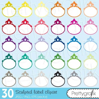 30 sculpted label clipart commercial use, vector graphics - CL487