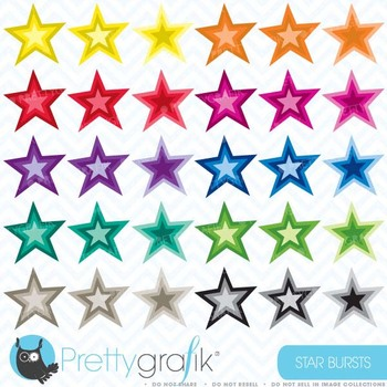 30 star burst clipart commercial use, vector graphics, dig