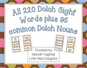 300+ dolch sight words for word wall - Multi-Colored Polka