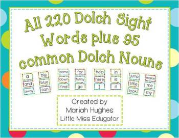 300+ dolch sight words for word wall- Turquoise and Multi-